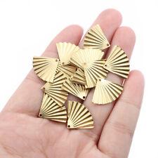 50Pcs Raw Brass Wrinkle Fan Shape Charms Pendants for DIY Jewelry Earring Making