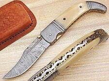 CUSTOM MADE DAMASCUS BLADE FOLDING KNIFE DC-5067-B
