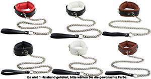 Halsband mit Leine gepolstert und abschließbar rot schwarz weiß BDSM Bondage Sty