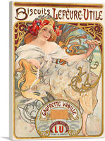 ARTCANVAS Biscuits Lefevre Utile 1900 Canvas Art Print by Alphonse Mucha