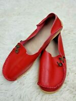 Socofy Women's Flats Red Pebbled Leather Slip-On Loafers Size 7.5 EUC
