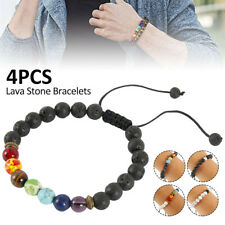 4Pcs 7 Chakra Healing Bracelet Lava Stones Beaded Gemstones Beads Reiki Anxiety