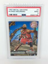 1997-98 Skybox Metal Universe #7 Alonzo Mourning PSA MINT 9 Miami Heat HOF