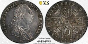 Great Britain 1787 Shilling With Hearts PCGS Genuine Cleaned—AU Detail