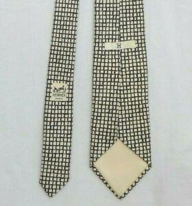 Vintage Hermes Paris 195 UA Ivory/Black Geometric 100% Silk Tie Made in France