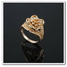 18k Gold Plated Poppy Flower Engagement Top Quality Ring Large Size Q FR40