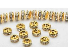100pcs/lot 8MM White Crystal Spacer Metal gold Plated Rondelle Rhinestone DIY