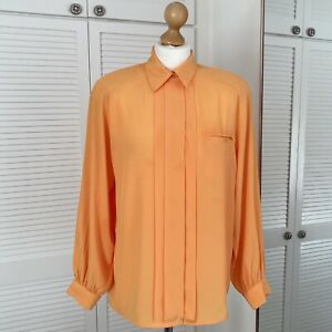 Mikado Vintage blouse Size 12 Yellow Pleated 80s Collared Secretary Geek Office