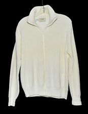 LL Bean Cream Ivory Thick Ribbed Cotton Mens Full Zip Sweater Size L Made in USA