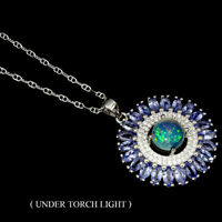 Unheated Round Fire Opal 8mm Tanzanite White Cz 925 Sterling Silver Necklace 16