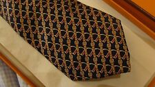 HERMES  silk tie. Classic, Stirrups and leathers   NEW with box