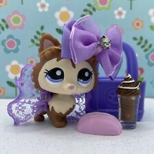 Authentic Littlest Pet Shop # 2280 Brown Peach Pomeranian Dog Purple Eyes