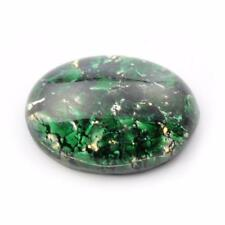 (1) 25x18mm Czech vintage foil marbled Dragons breath green glass cabochon