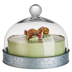 "8.8""X6"" Glass Dome Lid Cover Cake Decorative Stand with Round Wood Base"