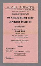 """The MARLENE DIETRICH Show"" with Burt Bacharach 1960 San Francisco Broadside"