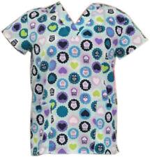 Women's Fashion Medical Nursing Scrub Tops Owl Heart L