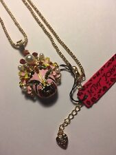 Betsey Johnson Crystal Facebook mask Pendant Sweater chain Long necklace-BJ6451