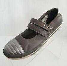 Clarks Epsie Star Junior Big Girls Ballet Flat Gray Leather Strap Shoes Sz 4.5M