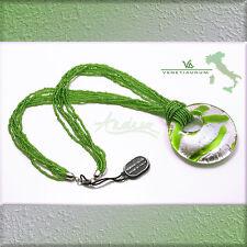 Designer VENETIAURUM Italy 925 Silver & Green Murano Glass Pendant Necklace