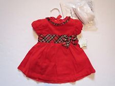 NURSERY RHYME Baby Girls Red Dress Tights Set Christmas Holiday Outfit 3-6 Mo