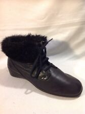 Hush Puppies Black Ankle Leather Boots Size 39