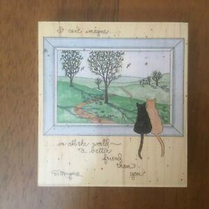Stamps Happen A Better Friend wood mount rubber stamp cats window Morgan art