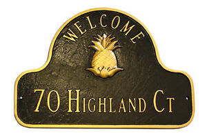 Pineapple WELCOME Address Plaque Lawn House Sign Numbers Wall Custom