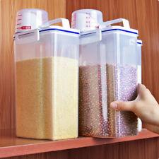 2L Plastic Cereal Dispenser Storage Box Kitchen Dry Food Grain Rice Container US