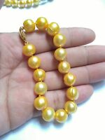 "HUGE AAA 11-12MM SOUTH SEA GOLD BAROQUE PEARL BRACELET 7.5-8"" 14K GOLD CLASP"