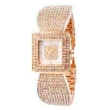 Alias Kim Rose Gold Crystal Square Square Face Women Bangle Bracelet Watch F150