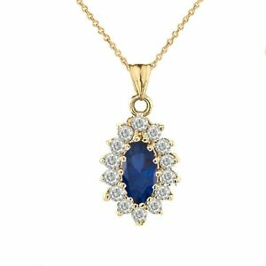 Solid Gold Genuine Sapp Marquise-Shaped Fancy Pendant Necklace White Yellow Rose