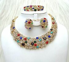 Sparkling Gold Multi Costume Party Bridal Necklace Earring Jewellery Set UK