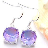 Round Shaped Mystical Purple Amethyst Tourmaline Gemstone Solid Silver Earrings