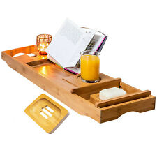 Extendable Bamboo Wood Bathtub Caddy Bridge Tray | Wine Glass,Phone,Soap Holder