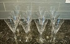 """VINTAGE ETCHED CUT CRYSTAL WINE GLASSES (12) 7"""" TALL"""