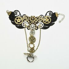 1pc Steampunk Lady Gear Hand Chain Finger Ring Victorian Bracelet Vintage
