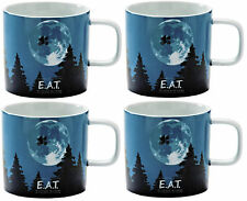 Set of 4 Large Coffee Mugs Fine Porcelain EAT Movie Made by Typhoon