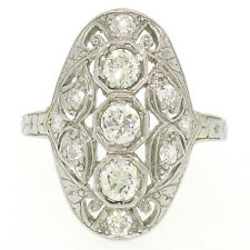 Antique Art Deco 18k White Gold 1.02ctw Diamond Unique Large Oval Dinner Ring