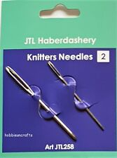 PACK OF 2 JTL BLUNT END KNITTERS NEEDLES FOR SEWING GARMENTS & DARNING FREE P&P