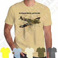 Supermarine Spitfire Infographic Mens 100% Cotton T-shirt ww2 RAF +7col of Tee
