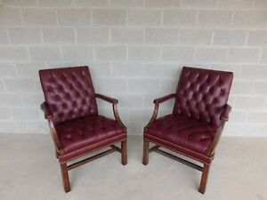 Classic Leather Chippendale Style Tufted Arm Chairs  - a Pair