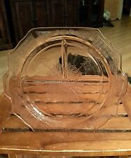 """Pink Depression Glass Princess Divided Grill Plate 10 1/2"""" Across 1 Side 9 5/8"""""""