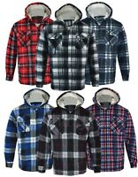 Mens Hooded Fur Lined Padded Fleece Shirt Lumberjack Work Jacket Check Sherpa