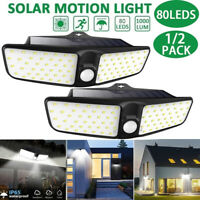2X 80LED Solar Power PIR Motion Sensor Wall Light Outdoor Garden Lamp Waterproof