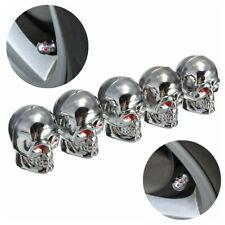5Pcs Car Silver Skull Wheel Tyre Tire Stem Air Valve Caps Dust Cover Accessories