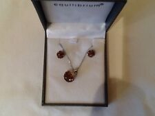 necklace and earring set,silver plated,amber crystal ball,equilibrium,rrp£21.99