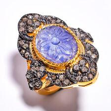 Blue Tanzanite & Pave Diamond Ring  925 Sterling Silver Ring 7.25 US 60