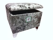"""FOOTSTOOL WITH STORAGE SILVER VELVET WITH CHROME LEGS 20"""" x 20"""" x 18"""" HIGH"""