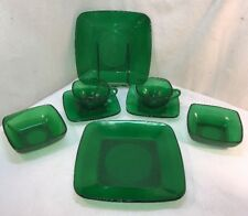 Vtg 8pc SQUARE Anchor Hocking Emerald Green Lunch PLATE Bowl Cup Saucer Glass