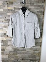Tommy Hilfiger Ladies Size Us 4 UK 6 Striped 100% Linen Blouse Shirt